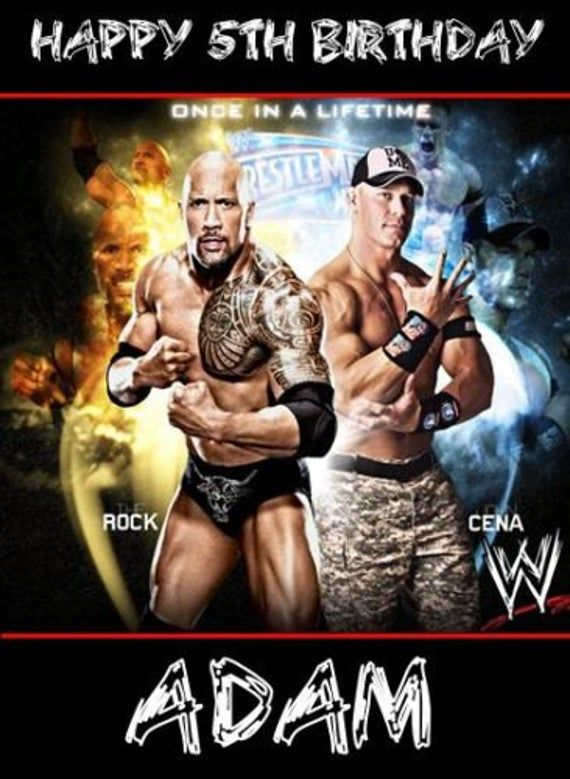 Wwe Wrestling Cena Rock Personalised Birthday Card Large A5 Birthday Cards For Son Happy Birthday Card Funny Wrestling Birthday Parties