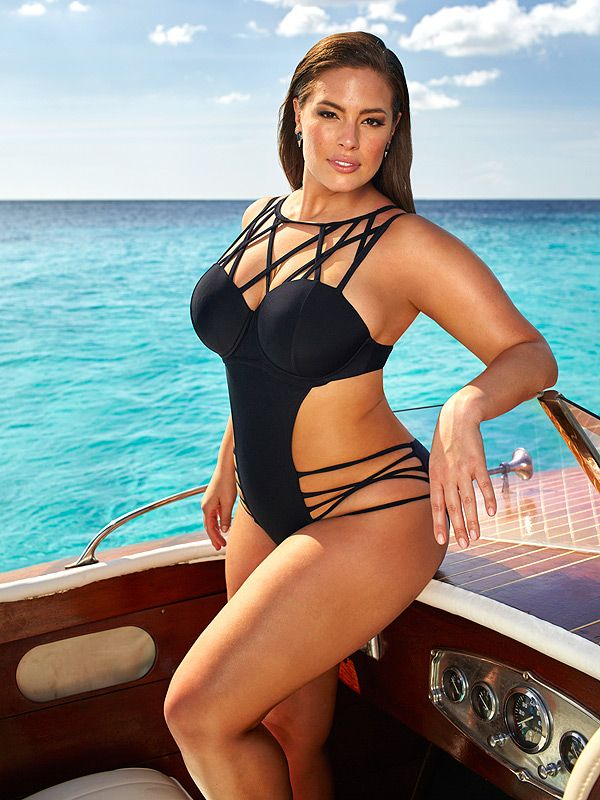 Ashley Graham in a strappy black one-piece - click through to see more photos from her new swimsuit line for sizes 10-24!
