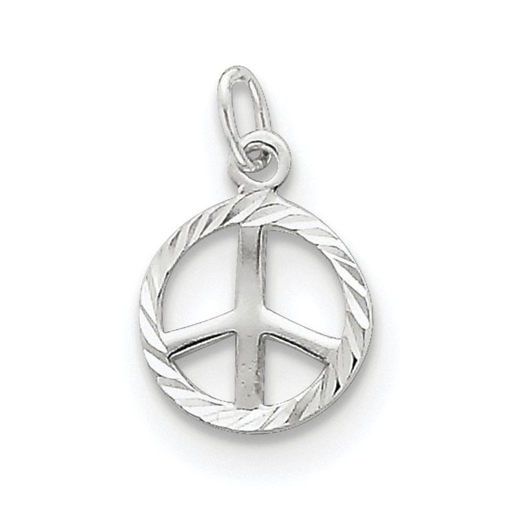 Sterling Silver Diamond-Cut Peace Sign Symbol Charm