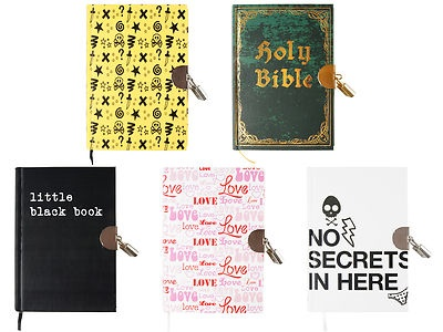 """Wanted Brand Hard Cover Lock Diaries 6""""x4.25"""" (5) Different Styles - 