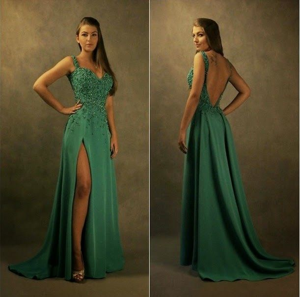 Prom Glam-So pretty with on trend slit and low back.
