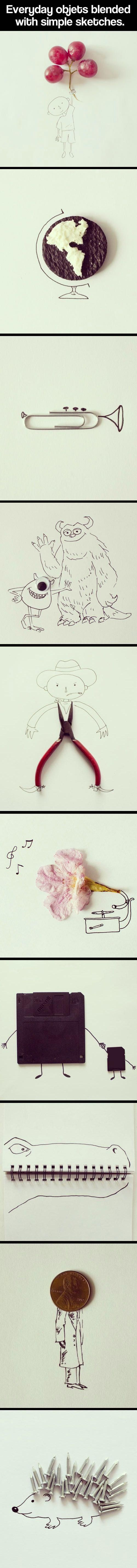 EVERYDAY OBJECTS BLENDED WITH SIMPLE SKETCHES.
