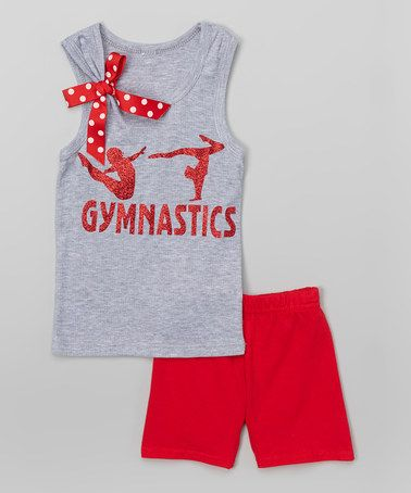 Loving this Gray & Red 'Gymnastics' Tank & Shorts - Infant, Toddler & Girls on #zulily! #zulilyfinds