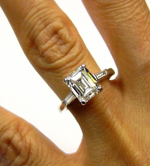2.76ct Estate Vintage Emerald Cut Diamond EGL USA with 2 Baguettes in Platinum Engagement  Wedding Anniversary Ring on Etsy, $12,795.00