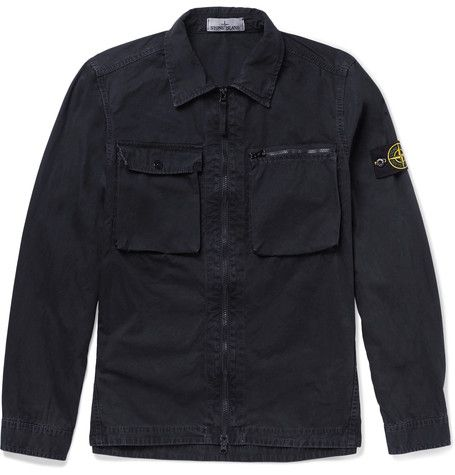 STONE ISLAND  Slim-Fit Brushed Cotton-Canvas Overshirt
