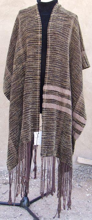 Hand-woven rayon chenille, ruana, quechquemitl