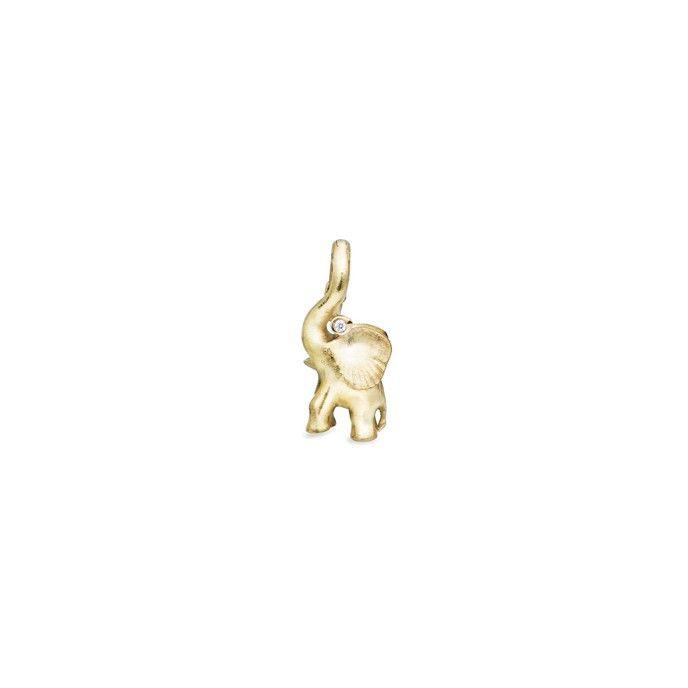 Elephant charm in 18K yellow gold and diamonds TW.VS