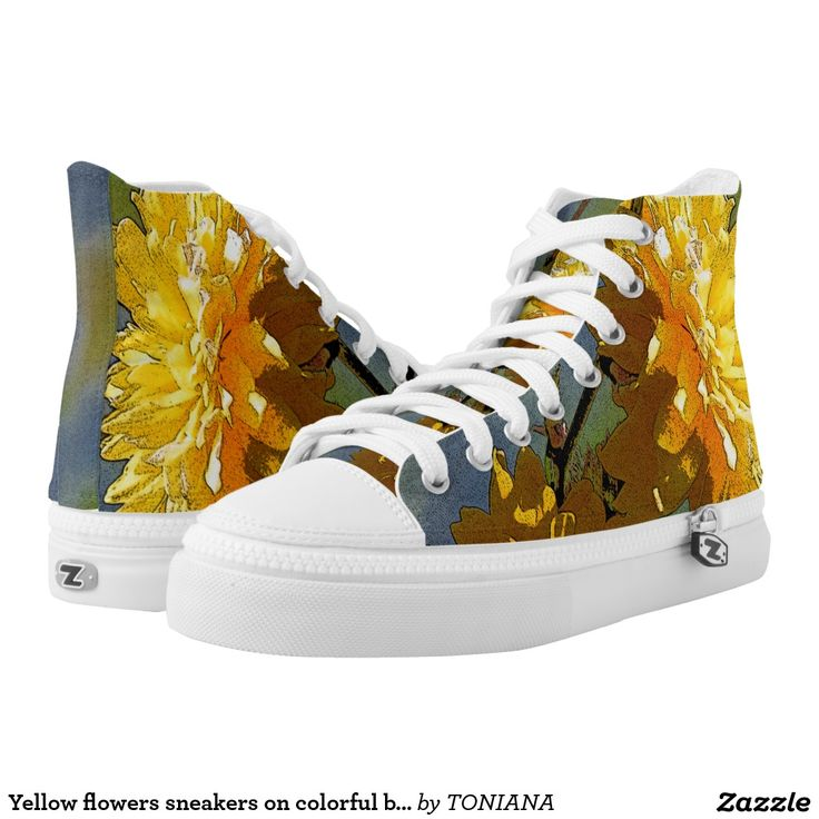 Yellow flowers sneakers on colorful background