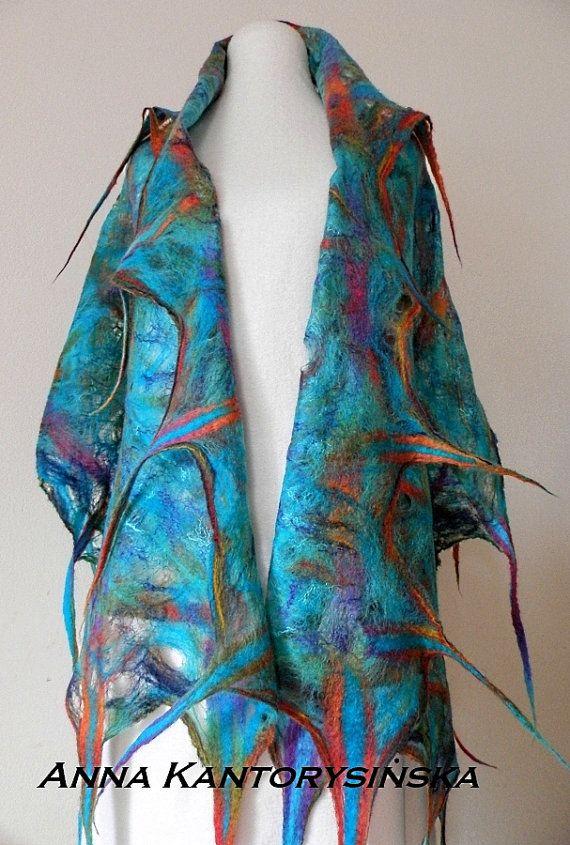 felted scarf shawl AQUARIUM handmade free by kantorysinska on Etsy, $124.00