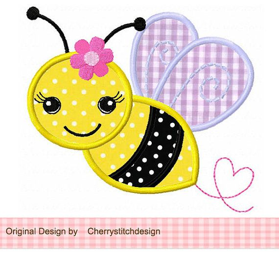 Bumble Bee with flower-Bumble Bee 03 Applique -4x4 5x7 6x10-Machine Embroidery Applique Design