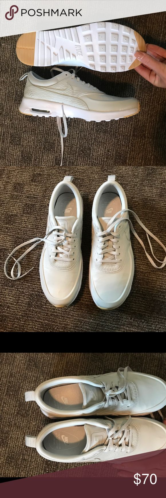 Nike shoes Women's size 8.5, they run small and on website it says to order 1/2 size up, these have been worn for like an hour, perfect condition, basically brand new, I bought with a gift card and that is why I am not returning. Nike Shoes Athletic Shoes