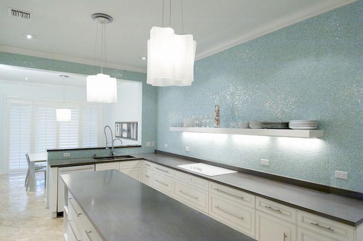 Terri Pakravan: Designed by Terri Pakravan   Modern kitchen remodel with turquoise glass tile, no upper ...