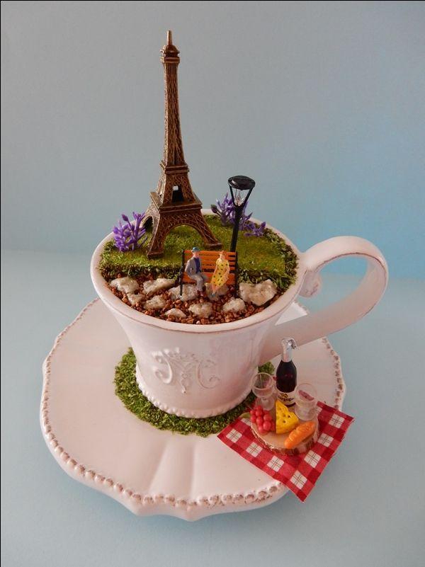 'Paris Picnic' - teacup diorama - by Love Harriet @ www.lilyanddot.com.au