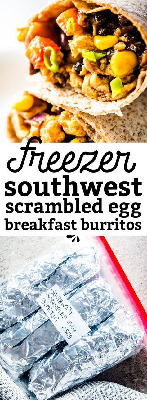 Are you looking for a healthy make ahead breakfast recipe to freeze? These Southwestern BBQ Scrambled Egg Freezer Breakfast Burritos are just what you need! Quick and easy to make (even for a crowd!), they're amazing to eat on the go, for kids on busy school mornings or for you if you're trying to get into a better meal prep routine. A great protein packed vegetarian idea you need to make today! | #mealprep #cleaneating #freezercooking #makeahead #burritos #recipe