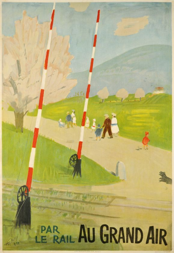 "Par le rail AU GRAND AIR by Morgenthaler Ernst / 1948. ""Outdoors by the rail"" Charming poster in perfect condition promoting the railway transportation in Switzerland. Designed by Ernst Morgenthaler and printed in stone-lithography."