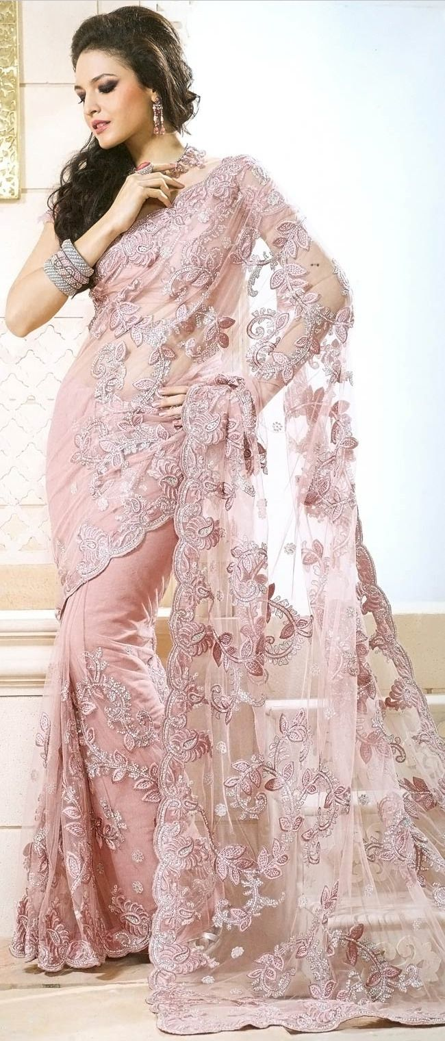 Pastel Pink Net Saree with Blouse