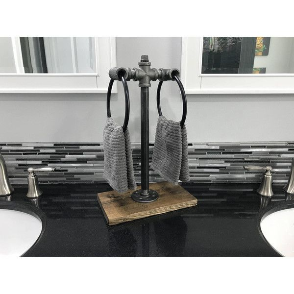Double Towel Ring Stand Industrial Decor Counter Top Holder