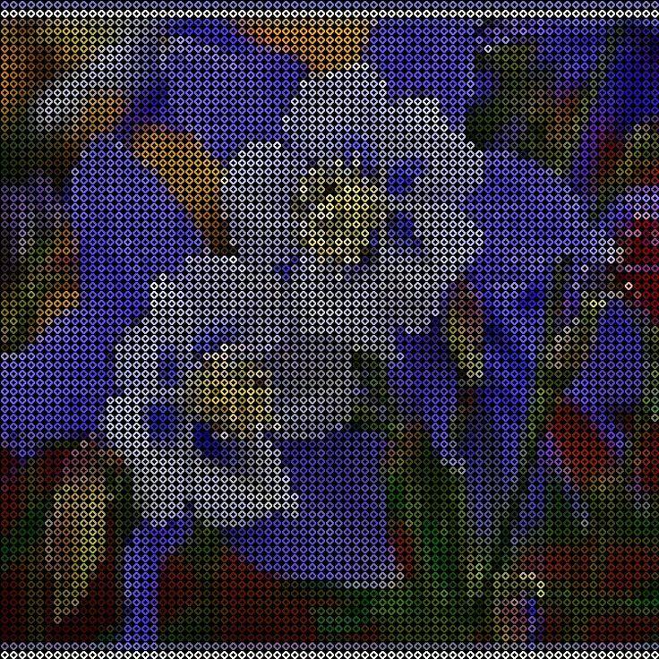 Blue and white flowers perler