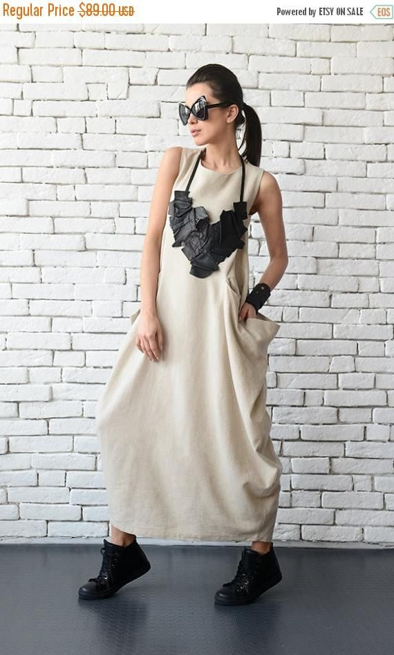Long beige maxi dress - METD0075 A great choice for a busy work day when you need comfort as well as going to a party - just put some accessories and you are ready! This oversize dress has front accent pockets that look interesting and are also practical. It is closed with a zipper at the back and has a statement slit. This piece looks great with both flats and heels. This dress is made out of 100% linen. Find it in BLACK here: https://www.etsy.com/listing/514296087/...