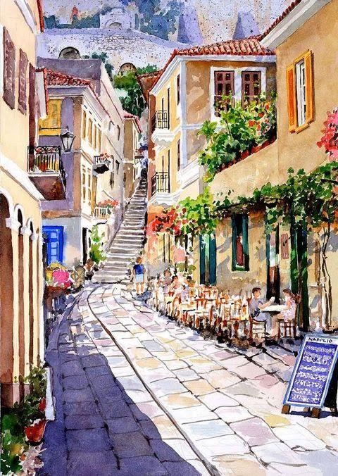 Watercolor Landscapes by Pantelis D. Zografos - Nafplio, below the castle