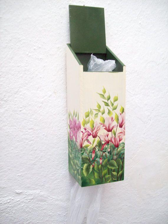 Wooden Plastic Bag Holder And Dispenser Reuse By
