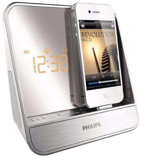 Philips AJ5300D Radio-réveil avec Station d'accueil pour iPod/iPhone 4 W RMS Tuner FM Argent