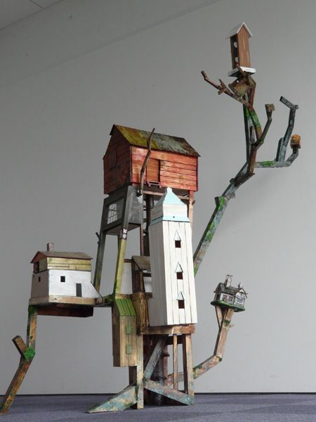 Okay, so see this with Contorted Filbert branches and little clay bird houses.... Maarten Demmink (Demiak)