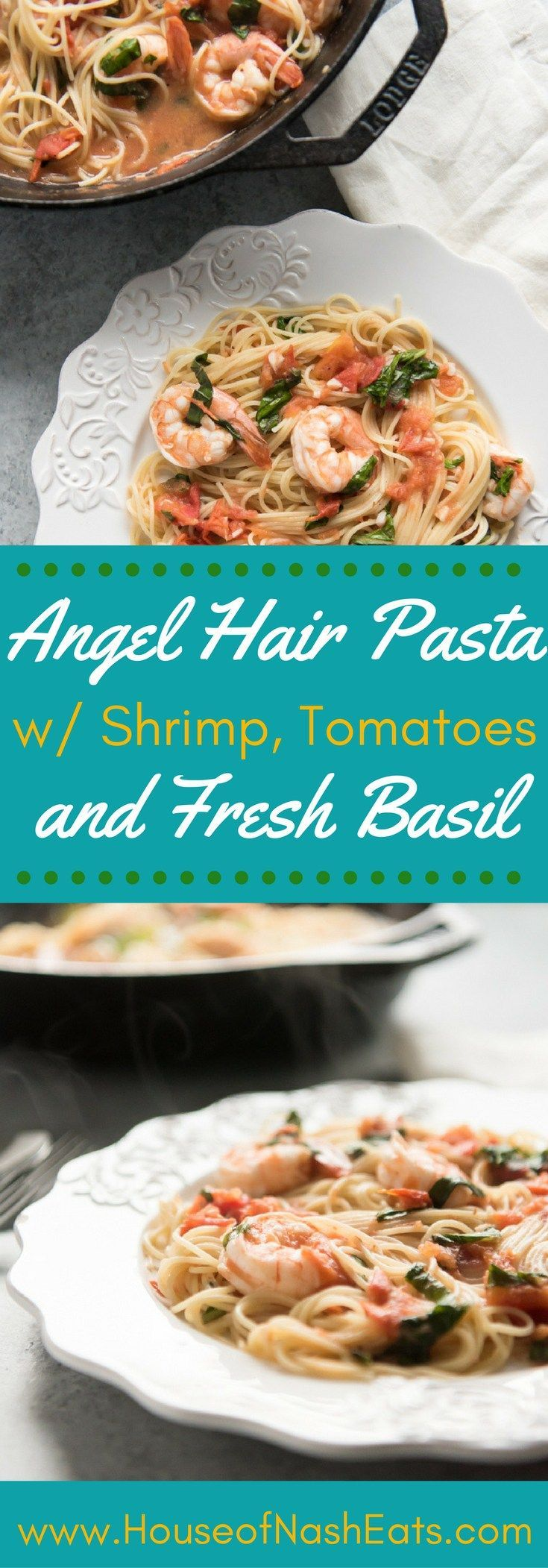 A classic combination of seafood and pasta, Angel Hair Pasta with Shrimp, Tomatoes and Fresh Basil makes for a simple, but elegant dinner with incredible flavors! It's an easy-fancy meal that is just as perfect to impress somebody special as it is to sati