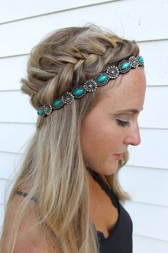 Headbands of Hope — Teal Lush. Hairdo to copy if you are going to a summer festival. Braid, headband and long straight hair.