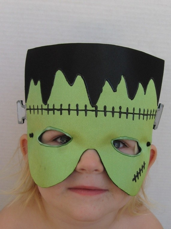 Halloween Frankenstein mask in green and black satin