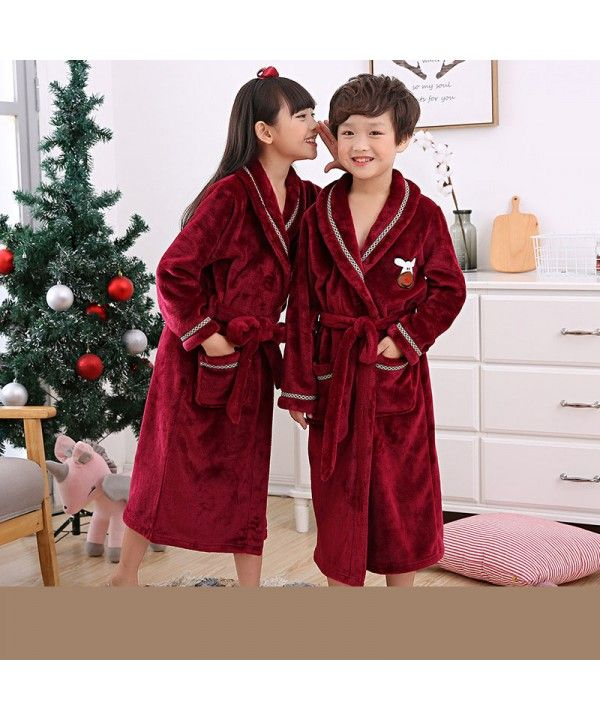 92ca9aff5b86 Autumn and winter children s bathrobe flannel pajamas boys and girls  nightgown