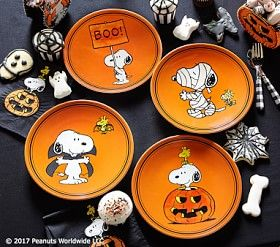 Charlie Brown® Halloween Plates #Pottery Barn Kids