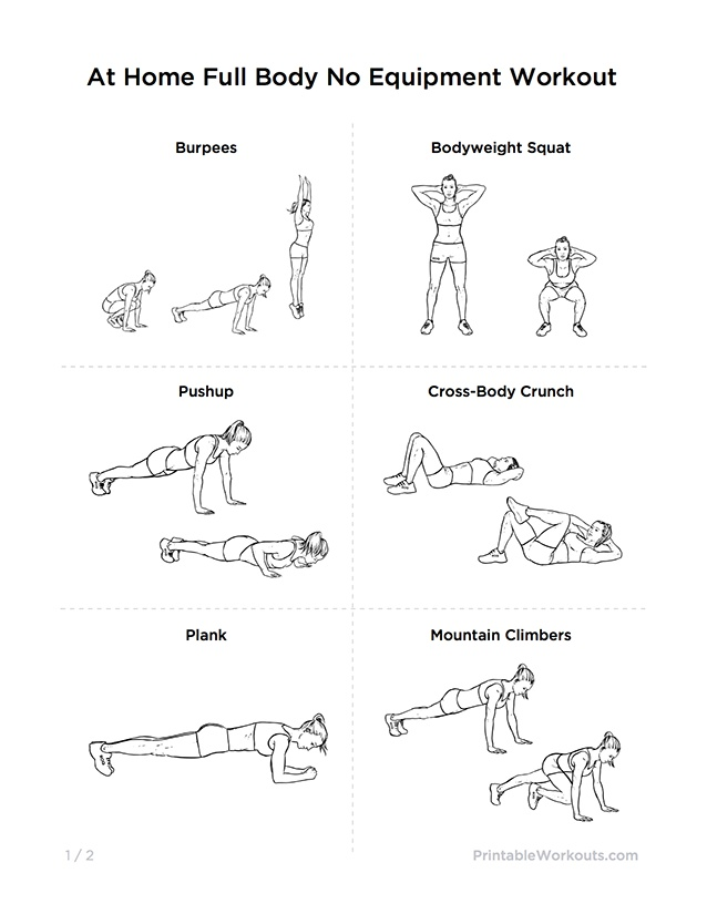ultimate at home no equipment workout routine for men women printable workouts workouts. Black Bedroom Furniture Sets. Home Design Ideas