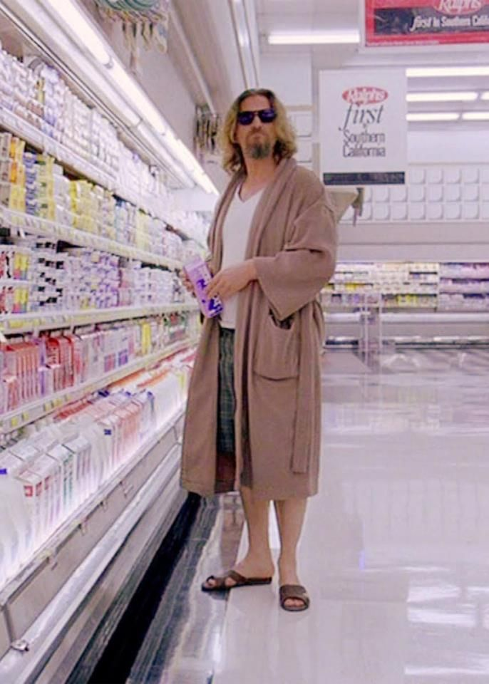 "The Dude abides...even in the dairy aisle. What a fashionable man. He sports a bathrobe like ""Sexy"" Tony Soprano...LOL"
