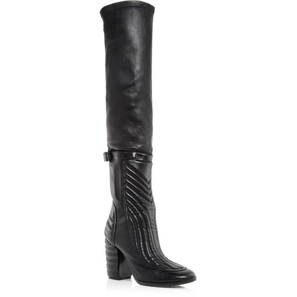 Laurence Dacade Black Leather Bettina Over the Knee Boots ($642) ❤ liked on Polyvore featuring shoes, boots, black thigh high boots, thigh boots, over-the-knee leather boots, leather high heel boots and thigh high boots