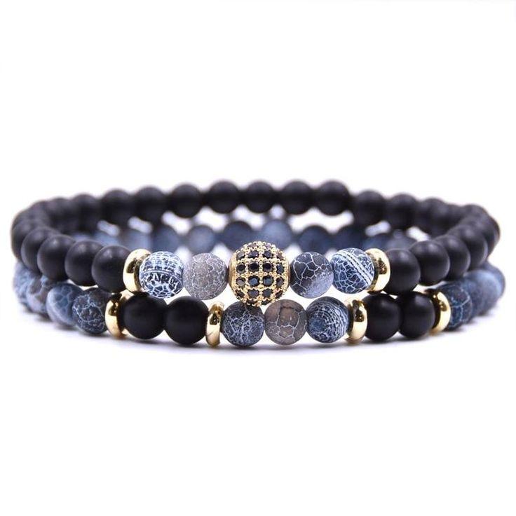 2pc/sets Natural Stone Bracelet Blue & black