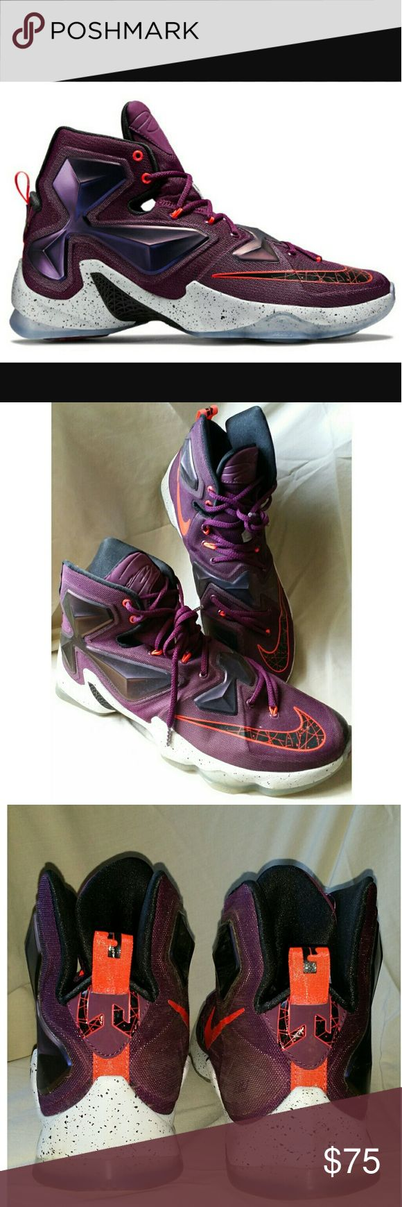 🏀Nike LeBron XIII - Written In The Stars sneaker You will not find these anywhere for this price👍 Original price $200 The Nike LeBron 13 is constructed of three main components – a breathable sock-like fit that provides flexibility but still gives you that lockdown support. A Hyperposite shell for impact protection. Lastly, a bolder Nike Hex Zoom Air cushioning unit. Super comfy. Excellent used condition, bought for my 12 year old who quickly grew out of them. 😁 Nike Shoes Sneakers