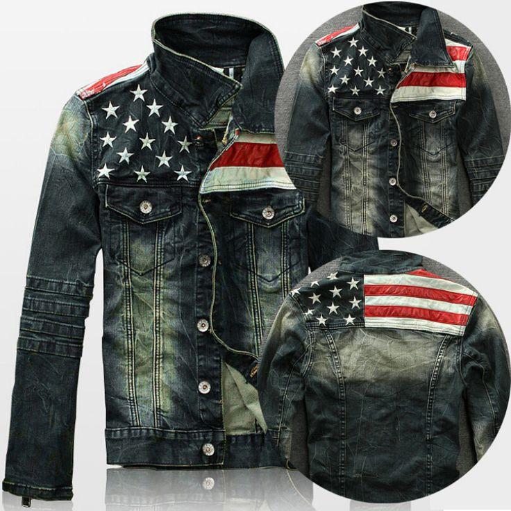 Флаг сша джинсы куртка для мужчины мотоцикл джинсы короткая куртка сделать старые джинсы деним пальто