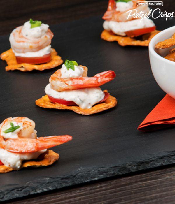 Honey Mustard and Onion Pretzel Crisps with shrimp and remoulade