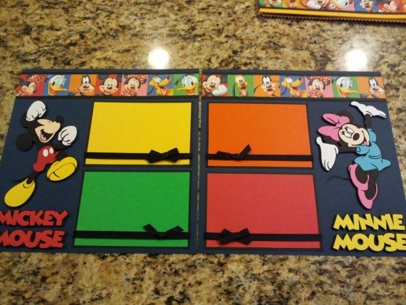 """Disney Mickey Mouse & Minnie Mouse 2 Page 12""""x12"""" Scrapbook Layout w/ paper piecings, die-cuts"""