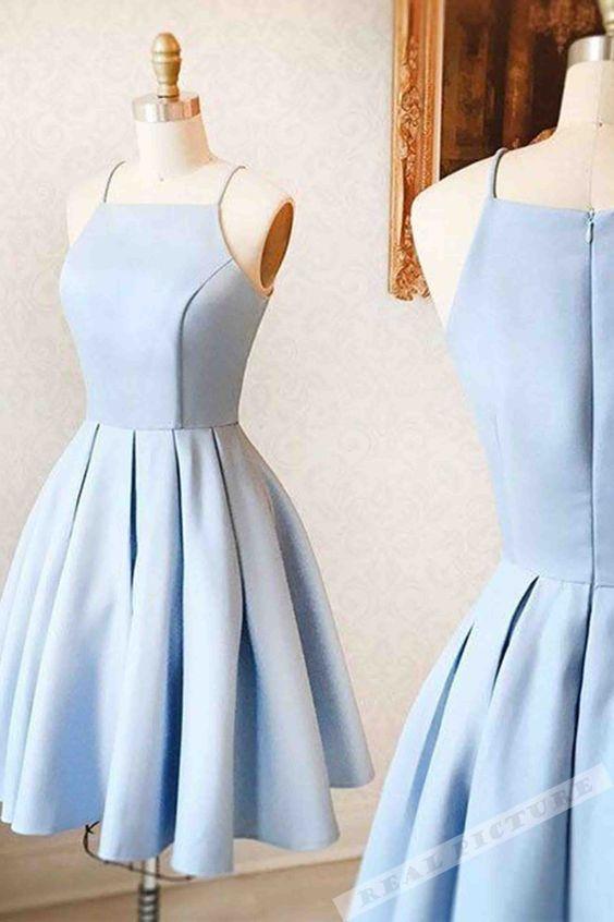 Light blue satin simple short dress,mini dress for female,51907