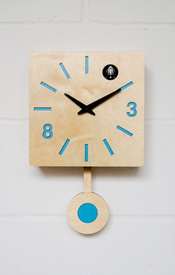 Modern Cuckoo Clock with moving bird  Blue Quadri