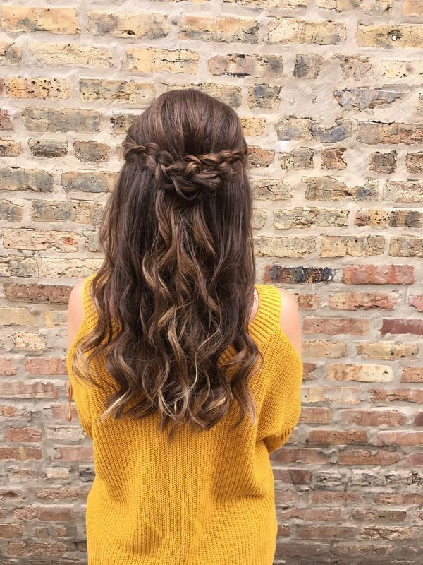 check out this half up half down hairstyle with waves + braids | hair by goldplaited #promhair