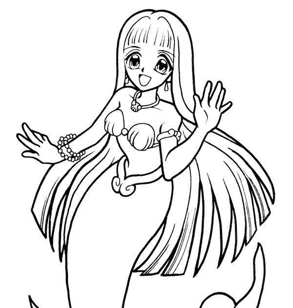 Anime Blue Mermaid Coloring Pages That Are Freean - Coloring Home | 630x600