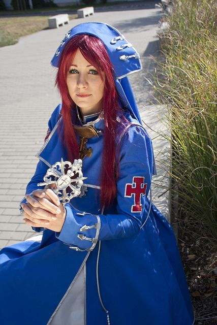 #MondoCon #Cosplay #Hungary #Budapest #Convention #Cosplaying #costume #nun #TrinityBlood #EstherBlanchett #cross #blue #redhair #2013 #female #woman #uniform