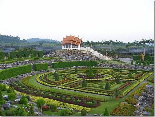 SUAN NONG NOOCH   Pattaya, Thailand. It offers amazing landscapes and stunning views. It is nothing short of a garden in some grand fairy-tale. You will see a lot of houses built in a traditional Thai style, villas, halls and restaurants, even swimming pools.