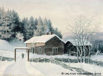 Ferdinand von Wright,   Talvimaisema auringonlaskun aikaan, 1867