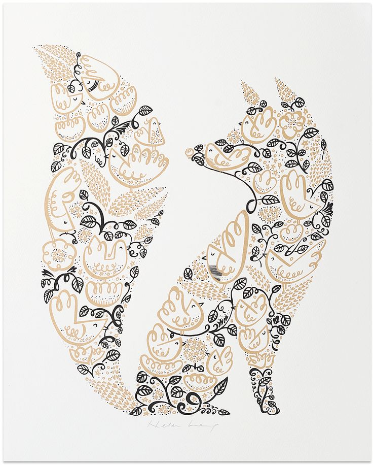 This fetching fox from Helen Lang has been made up of illustrations of beautiful birds amongst entwined decorative flowers and foliage. Screen printed in metallic gold and black on textured white fine art paper. Each print has been signed by the artist.