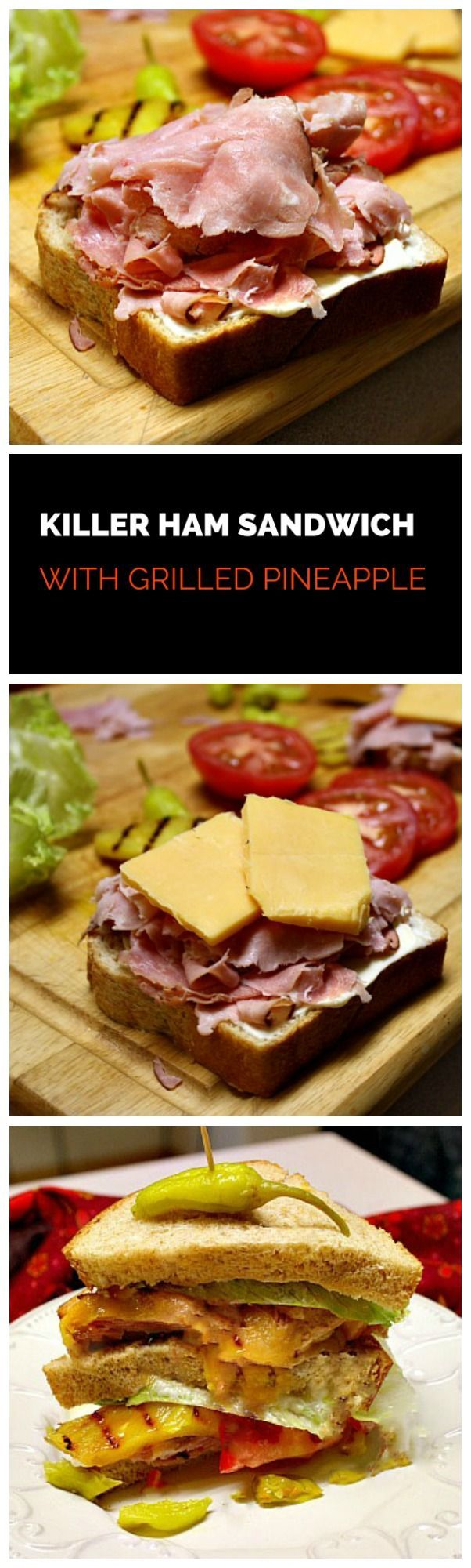 Great sandwich for left over Easter Ham. This combo comes in 2nd as the best sandwich I've ever had. BLT being first, of course. Stacked high with ham, cheese, grilled pineapple, tomato and pepperoncini, this is a killer sandwich.