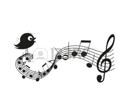 Éneklő madár sziluettje zenei jegyzetek
